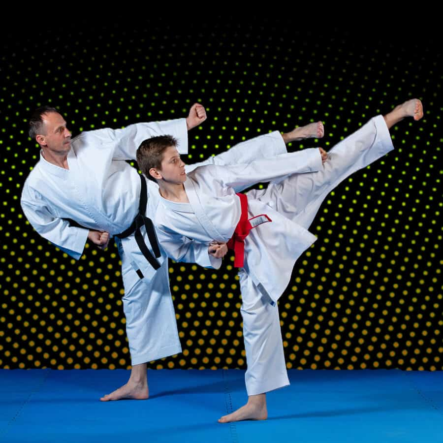 Martial Arts Lessons for Families in _Cobourg_ _ON_ - Dad and Son High Kick