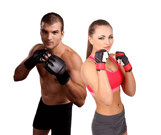 Mixed Martial Arts Lessons for Adults in _Cobourg_ _ON_ - Hands up Fitness MMA Man and Woman Footer Banner