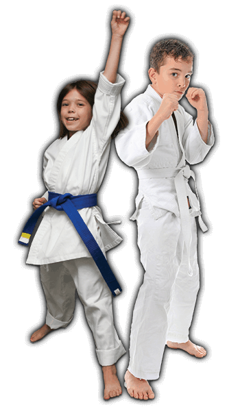 Martial Arts Lessons for Kids in _Cobourg_ _ON_ - Happy Blue Belt Girl and Focused Boy Banner