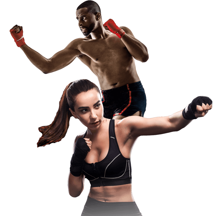Mixed Martial Arts Lessons for Adults in _Cobourg_ _ON_ - Man and Woman Punching Hooks